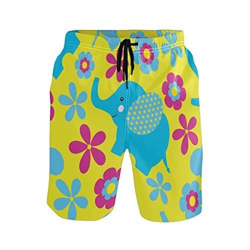BONIPE Herren Badehose Cute Elefant mit Blumen Quick Dry Boardshorts mit Kordelzug und Taschen Gr. XL, mehrfarbig