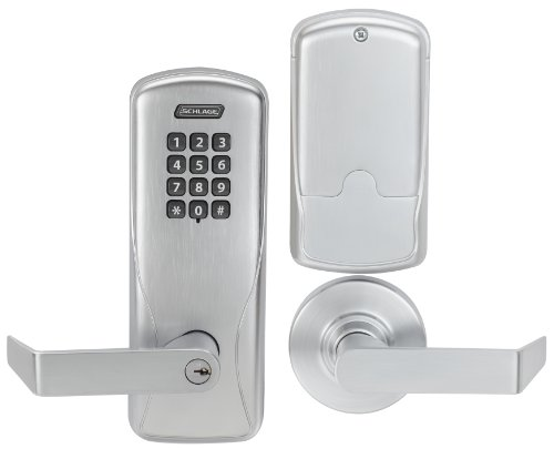 SCHLAGE Schlage CO Series Class 100 Offline Electronic Lock, Cylindrical Chassis, Classroom/Storeroom Function, Keypad, Rhodes Lever, Satin Chrome Finish (CO-100 CY70 KP RHO 626)