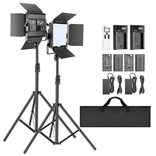 Neewer 2-Pack 2,4G LED Luz Video con Soporte de 2M Bicolor 200 SMD CRI 94 + Soporte en U Barndoor Pantalla LCD Kit Iluminación de Video con Carcasa Metal para Fotografía Estudio