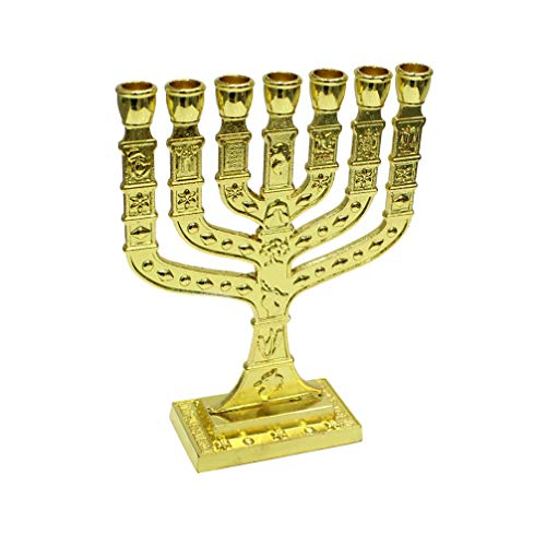 VOSAREA Religiöse Kerzenhalter 7 Tassen Leuchter Heilig Jüdisch Desktop Kerze Kerzenhalter Hält Ständer für Haus Hotel Café Party