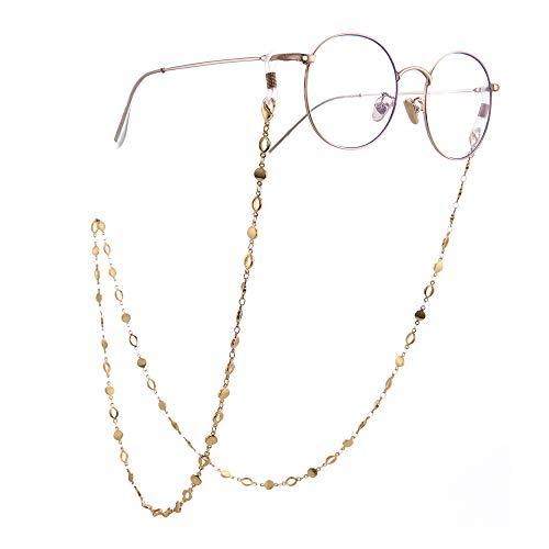 VASSAGO Correa de Cristal de Sol para Gafas de Sol, Cadena de eslabones para Mujeres y niñas, Forma sólida y Forma Hueca