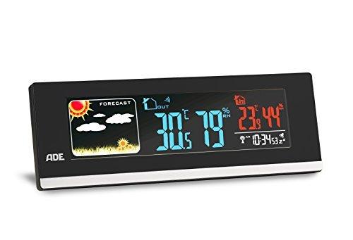ADE WS1601 Estación meteorológica digital con radio-reloj-alarma y sensor externo. Higrómetro - USB para carga de Smarthphones (Negro) ✅