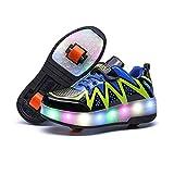 WILLQ Zapatillas Deporte Polea con Doble Rueda Zapatillas Skateboarding Retráctiles Luz LED Zapatillas Deporte Superiores Sintéticas Vibración, para Niños y Niñas,Negro,33