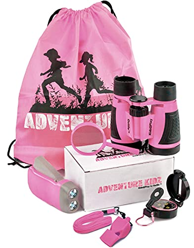 Adventure Kidz - Outdoor Exploration Kit, Children's Toy Binoculars, Flashlight, Compass, Whistle, Magnifying Glass, Backpack. Great Kids Gift Set for Camping, Hiking, Educational and Pretend Play.