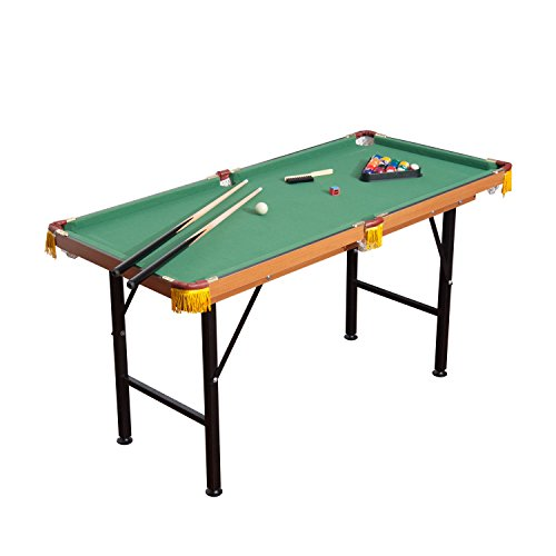 HOMCOM 55'' Portable Folding Billiards Table Game Pool Table for Kids Adults with Cues, Ball, Rack, Brush, Chalk