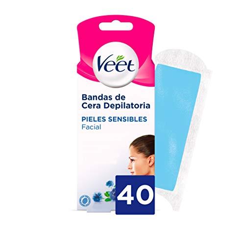Veet Bandas de Cera Fria Depilatoria para Depilación Facial con Aceite de Almendras y Aroma de Aciano, Easy Gelwax, Pieles Sensibles, 40 Tiras