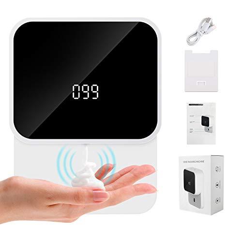Seifenspender Automatisch, Seifenspender mit Sensor Infrarot, 280ml Elektrischer Seifenspender Wandbefestigung mit LED-Anzeige für Temperatur und Leistung Wiederaufladbar für Küche, Bad, Büro,WC