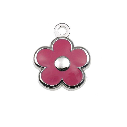 LuckyPet Pet ID Tag - Tiny Flower Jewelry Tag - Dog & Cat Tags for The Tinest Pets - Deeply Engraved on The Back Side - Color: Pink