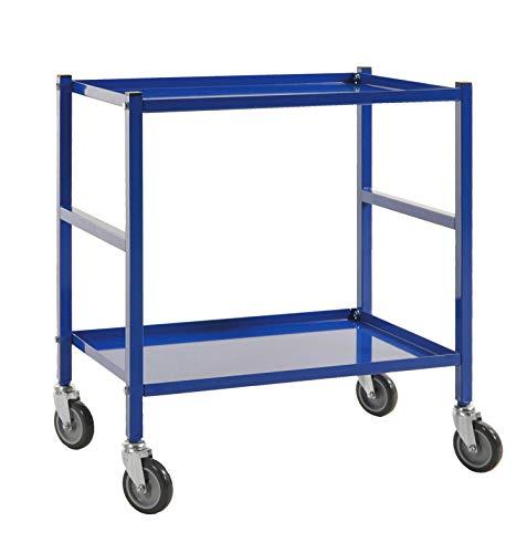 Tafelwagen, transportwagen, etagewagen, trolley, commisioneerwagen met 2 planken, geschikt voor boxen met afmeting 600 x 400 mm, werkplaatswagen
