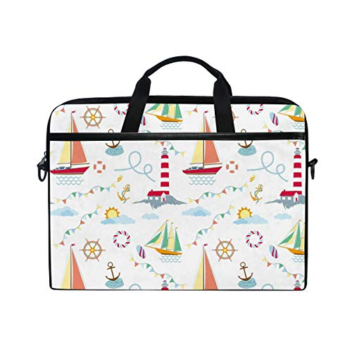 CPYang Laptop Bag Anchor Lighthouse Sailboat Computer Laptop Case Notebook Laptop Shoulder Messenger Bag Sleeve for Boys Girls Women Men