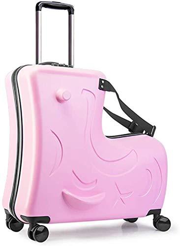 ANGELCITY スーツケース 子供が乗れる 木馬形 キッズキャリーケース キャリーバッグ 軽量 静音 かわいい 女の子 男の子 丈夫 旅行 帰省 お出掛け 遠足 20/24インチ おしゃれ 一年保証 N2 (24インチ, ピンク)