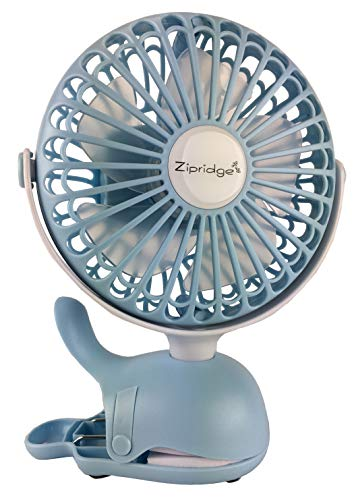 Clip On Baby Stroller Fan With Rechargeable Battery Perfect for Infant Crib, Golf Cart, Car Seat, Office Desk, Camping, or Workout in A Playful Whale Design, Blue