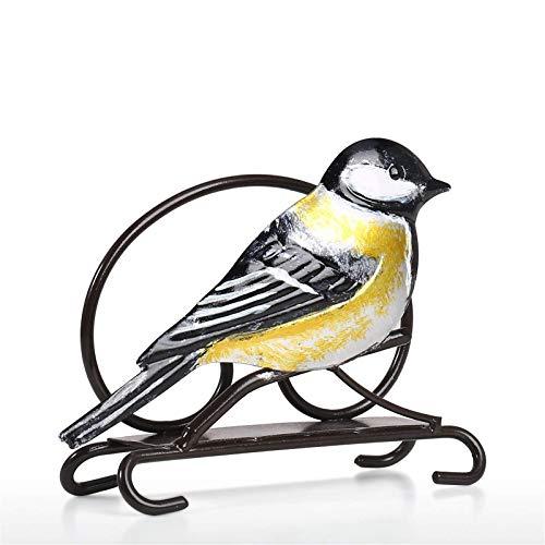 Madeinely Escultura de metal creativa, servilleta para pájaros, porta papel de seda, utensilio de cocina para estante doméstico, estatuas decorativas