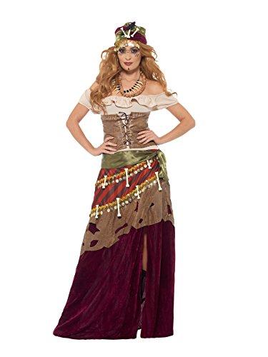 Smiffy's - Dames Deluxe Voodoo Priesterijn kostuum, jurk, sjerp, hoed en ketting, meerkleurig