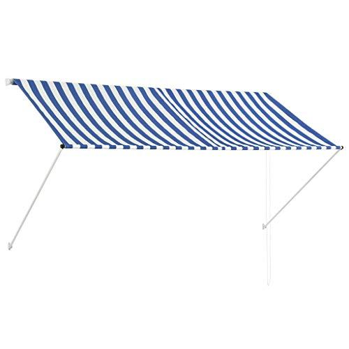 Nishore Toldo Retráctil Terraza Balcón Toldo Extensible - Montando en la Pared - Impermeable y Resistente a los Rayos UV - 250 x 150 cm Azul y Blanco
