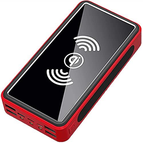 30000 mAh Cargador Solar Inalámbrico, Bancos Energía Portátiles con 4 Salidas y Linterna LED, Paquete de Batería Externo Banco de Energía para iPhone, iPad, Camping Aire Libre,Rojo
