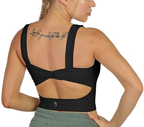 icyzone Sports Bras for Women Without Pads - Open Back Yoga Crop Top Workout Running Shirts (Black, Medium)