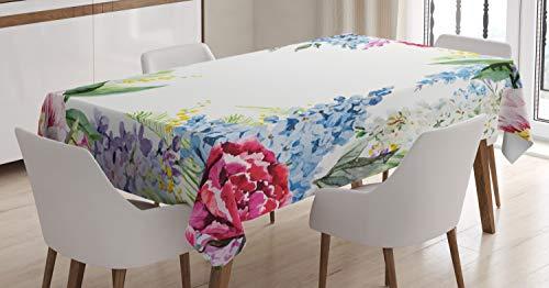 ABAKUHAUS Flor Mantele, Lila del Resorte Lavenders, Resistente al Agua Lavable Colores No Destiñen Personalizado, 140 x 170 cm, Multicolor