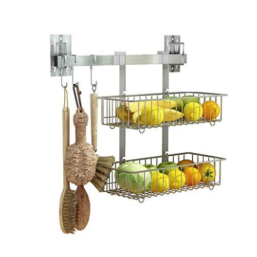 Z-LIANG Estante de acero inoxidable 304 vegetales de la cocina de almacenamiento en rack Basket Pared de drenaje que cuelgan en rack Inicio de frutas Cesta de almacenamiento (Color: plata, tamaño: 40c