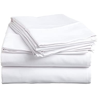 Rajlinen #1 Bed Sheet Set 100% Egyptian Cotton 800 Thread-Count Queen Size Wrinkle, Fade, Stain Resistant - 4 Piece (Solid White) 16  Drop -By
