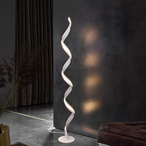 ZMH Lámpara de pie LED para salón, color blanco, diseño de espiral moderno, blanco cálido, 3000 K, 142 cm, 21 W, de aluminio, con interruptor de pie para dormitorio, salón, oficina
