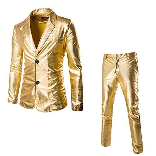 Lenfesh Herren Anzug Metallic Glänzend Kurzarmshirt Glitzer Gold Blazer Schlank Slim Fit Kostüm für Party Dance Nachtclub Tanzen Disco Halloween Cosplay 2 Stück