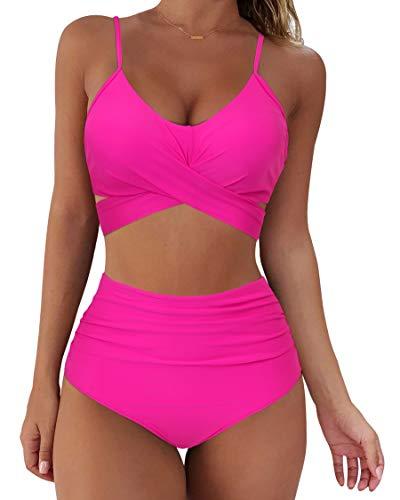 SUUKSESS Women Wrap Bikini Set Push Up High Waisted 2 Piece Swimsuits (L, Hot Pink)