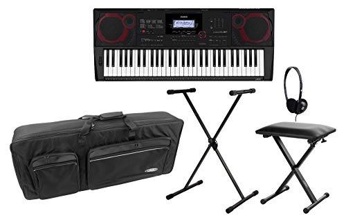 Casio CT-X3000 MIDI Keyboard Deluxe Set (MIDI Keyboard mit 61 Tasten, 800 Voices, Lessonfunktion, Begleitautomatik, MIDI-Recorder & USB inkl. X-Keyboardständer & -Bank, Kopfhörer & Tasche) Schwarz