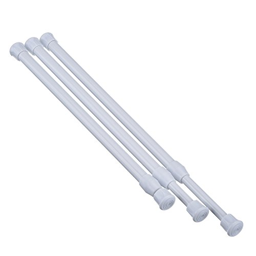 Hotop 3 Pack Cupboard Bars Tensions Rod Spring Curtain Rod, Adjustable Width (9.84-15.75 Inches, White)