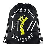 Zaino unisex con cordino, per sassofono jazz, in poliestere, borsa da palestra, zaino casual da donna, 36 x 43 cm