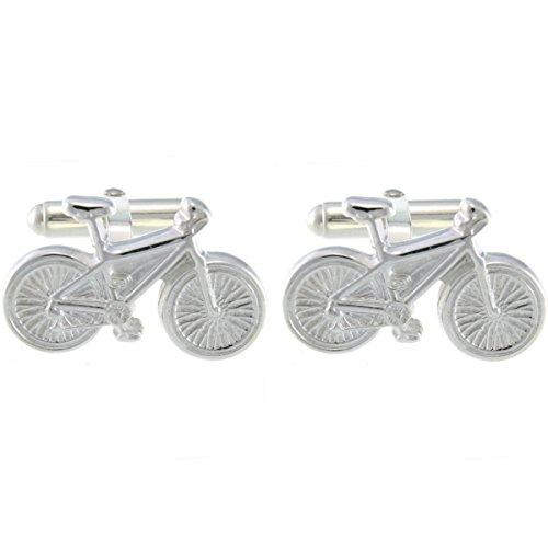 Herren-Manschettenknöpfe mit Fahrrad-Motiv, Sterling-Silber 925, inkl. Geschenkbox