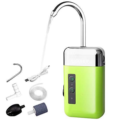 Lixada Tragbare Mini-Luftpumpe für den Außenbereich Luft-Sauerstoffpumpe mit Luftsteinrohr 3-in-1-Sensor USB-Aufladung Automatische 、Multifunktionale Sauerstoffpumpe LED-Beleuchtung zum Angeln