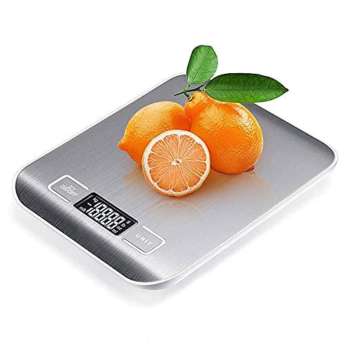 Báscula Digital para Cocina de Acero Inoxidable, 1g /10kg, Balanza de Alimentos Multifuncional, Báscula Digitales de Precisión,Peso de Cocina, Color Plata (Baterías Incluidas)