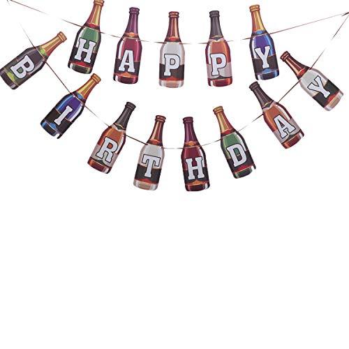Amosfun Papier Banner Gelukkige Verjaardag Banner Bier Fles Gevormd Ophangkrans Letter Gedrukt Trek Vlag voor Verjaardag Party