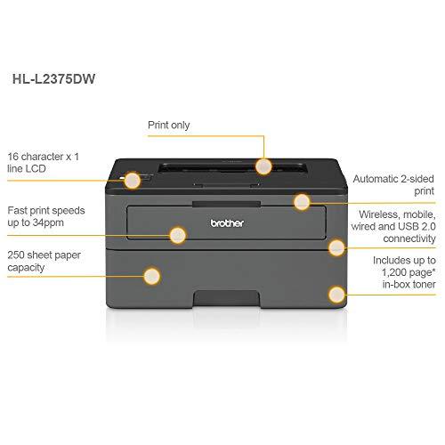 Brother HLL2375DW - Impresora láser monocromo con red cableada, Wifi y dúplex (34 ppm, USB 2.0, Wifi Direct, procesador de 600 MHz, memoria de 64 MB) gris