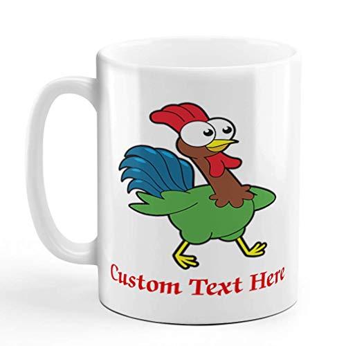 N\A Taza de café de cerámica Personalizada, Gallo de 11 onzas Que Camina a la Derecha, Animales de Granja, Taza de té Blanco, Texto Personalizado aquí