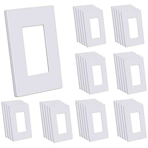 """CML Screwless Wall Plates, 40 Pack Decorator Light Switch Covers, 1-Gang Decor Outlet Switch Plate, Standard Size 2.91""""x4.68"""", Impact Resistant, White"""