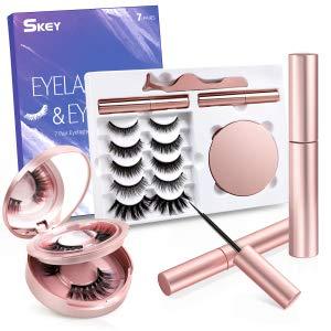 Magnetische Wimpern SKEY, 5 Magnetwimpern, 2 farbige Wimpern mit Taschenspiegel, 3D 5D natürliche Wimpern mit 2 magnetischer Eyeliner, Pinzette, wasserdicht und wiederverwendbar(7 Paar)