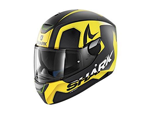Casco de moto negro y amarillo, talla M