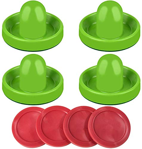 Air Hockey Pushers and Air Hockey Pucks- Accessories for Game Tables (4 Striker, 4 Puck Packs) (Green)