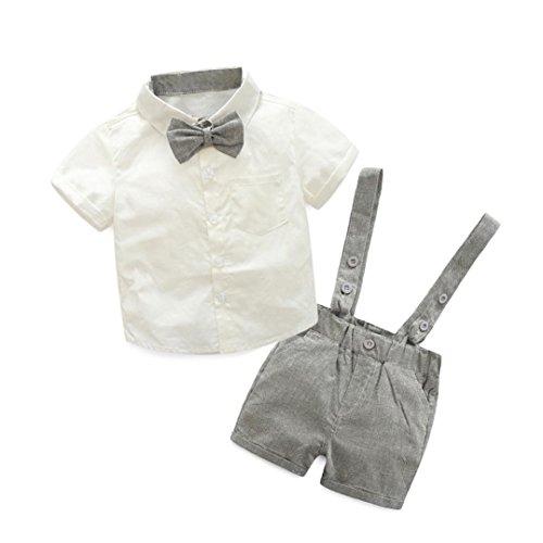 K-youth Conjuntos bebé Niño, Ropa Recién Nacidos Bebe Niño Camiseta Mangas Cortas Tops y Pantalones Cortos y Corbata de moño Verano Ropa Conjunto 0-3 Años