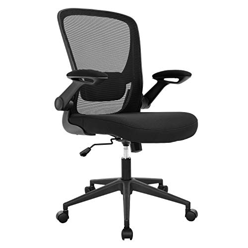 Office Chair Ergonomic Desk Chair Mesh Computer Chair Swivel Rolling Mid Back Task Chair with Lumbar Support Flip-up Arms Adjustable Chair for Adults(Black)