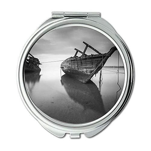 Yanteng Spiegel, Compact Mirror, Strand Schwarz-Weiß-Boote, Taschenspiegel, Tragbare Spiegel