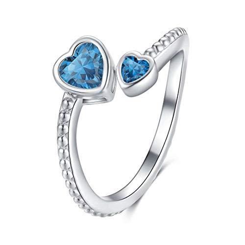 Qings Anillos Ajustable de Doble Corazón Topacio Azul Anillo Piedras de Nacimiento Diciembre Anillo Halo Regalos del dia de la Madre para Mujer