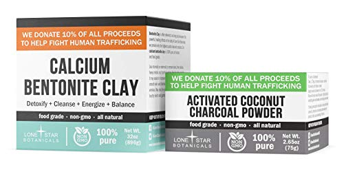 Bentonite Clay Powder & Activated Charcoal - Pharmaceutical Grade DIY Natural Face & Hair Mask, Detox, Teeth Whitening & Homemade Soap Ingredient - Gut Health + Toxin Removal, Internal & External Use
