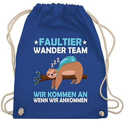 Shirtracer Sprüche - Faultier Wander Team - Unisize - Royalblau - Statement - WM110 - Turnbeutel und Stoffbeutel aus Baumwolle