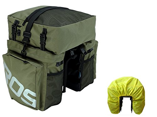 Bike Pannier Bag with Rain Cover,Bicycle Rear Seat Trunk Bag Waterproof, 3 in 1 Rear Rack Bicycle Saddle Bag for Cycling