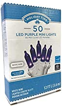 Holiday Time 50 Count Purple LED Mini Lights on White Wire