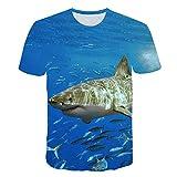 Camiseta 3D de Pescado para Hombres y Mujeres, Ropa de mar Azul, Ropa de Calle Hip Hop, Camiseta de Pesca Divertida Harajuku de océano T7 L