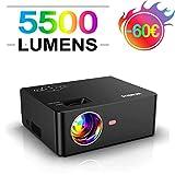 Vidéoprojecteur, WiMiUS 5500 Lumens Portable Mini Vidéo Projecteur, Full HD 1920x1080P Soutien, Réglage Trapézoïdal ±15°, HiFi Stereo Sound, avec USB VGA HDMI AV pour Home Cinéma Fire TV Stick